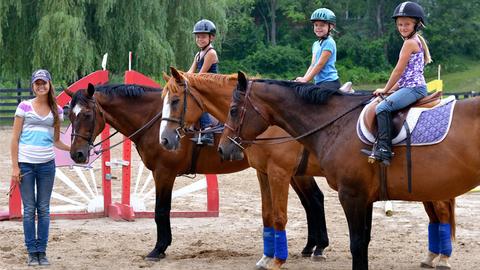 Smiling kids at horseback riding lesson